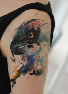 Watercolor eagle tattoo on the shoulder by dopeindulgence