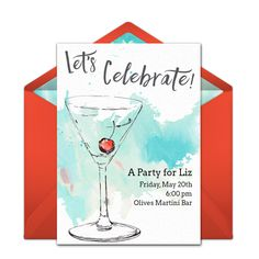 This illustrated aqua and red martini-inspired free party invitation design is a perennial favorite on Punchbowl. We love it as an invitation for birthdays, girls night out, cocktail parties, and more. #handmade