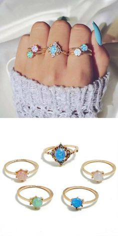 Makes This Lovely Set Opal Rings a great gift for anniversary, engagement, promise ring, birthday, unique gift or any special occasion! Cute Gifts, Unique Gifts, Great Gifts, Opal Gemstone, Amethyst, Diamond Alternatives, Copper Material, Whimsical Fashion, Morganite Ring