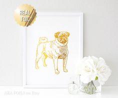 Pug Gift  Pug Art Print  Dog Art Gold Foil Print  Pug by AKAFoils