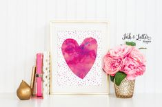 Hey, I found this really awesome Etsy listing at https://www.etsy.com/listing/245755233/heart-printable-hot-pink-wall-art-pink