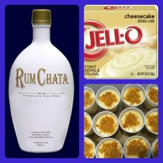 Rum Chata cheesecake Pudding Shots Servings: 12 Prep: 5 Min Cook Time: 2 hours Ingredients 1pkg instant cheesecake pudding mix 3/4c milk 3/4c rum chata rum 1pkg 8 oz. cool w…