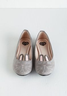 Furry Up, We're Dreaming Flat in Stone. Slip into these bunny flats from T.U.K. #grey #modcloth