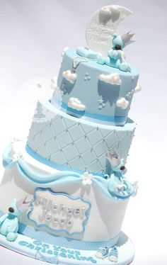 The Royal Bakery - White and Blue Christening Cake with Teddies, Moon, Clouds and Stars