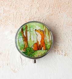 Red Fox in the Woods -- Watercolor Painting Pill Case, 3 sections by Sarah-Lambert Cook