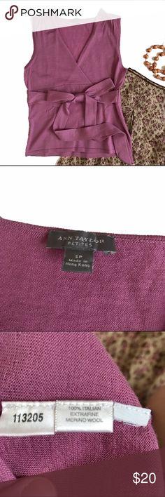 Ann Taylor sleeveless wool sweater Rose pink sleeveless merino wool sweater.  Plunging V neck.  Wrap around belt.  EUC. B5.13 Ann Taylor Sweaters V-Necks