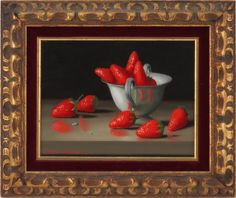 "Randolph Brooks, American (20th century) ""Strawberries in a Cup"" Still Life Oil on Masonite Signed Lower Left. Dated 1968"