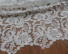 Venise lace fabric guipure lace white fabric by lacelindsay Disney Wedding Dresses, Couture Wedding Gowns, Modest Wedding Dresses, Boho Wedding Dress, Mermaid Wedding, Wedding Lace, Lace Weddings, Summer Wedding, Dresses Short