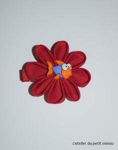 Pince fleur originale rouge poisson orange violet