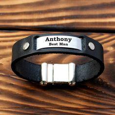 Groomsmen bracelet, personalized groomsmen gift, gift for groomsmen, bestman gift, leather groomsmen bracelet, unique groomsmen gift