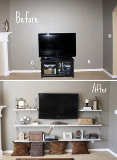@lexi Pixel Mendoza this made me think of you! Simple Inexpensive Shelves Instead of Built-in makes this space look wider and more balanced!- Great for the Carlyle House... put the T.v. on an arm so you can face it in a diff. direction!