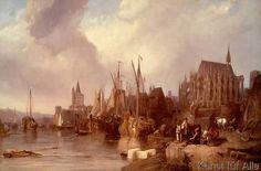 George Clarkson William Stanfield - Das Kölner Rheinufer mit dem unvollendeten Dom
