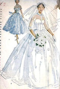 1954 Princess Grace Style Bridal Gown Pattern by ShellMakeYouFlip Vintage Outfits, Vintage Dresses, Vintage Fashion, Wedding Dress Patterns, Vintage Dress Patterns, Moda Vintage, Vintage Mode, Bridal Dresses, Wedding Gowns