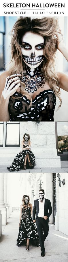 Hello Fashion takes on Halloween with amazing skeleton makeup and the most gorgeous Oscar De La Renta gown. @hellofashblog