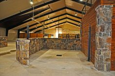 Brick indoor wash stall - note tie poles