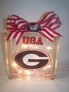 Georgia Bulldogs Lighted Glass Block by HaloDesignInteriors, $35.00
