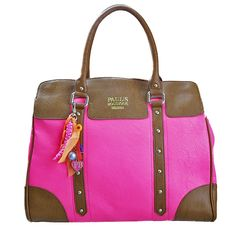 Ladies Paul's Boutique Alice Bag in Neon Pink and Tan - new*