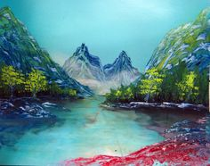 Spray Paint Art Original Mountain Lake Trees Landscape by EacArt