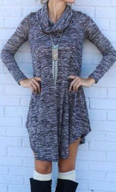 Fashion Simple Outfit Gray Dress
