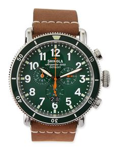 47mm Runwell Sport Chronograph Watch, Brown/Green  by Shinola at Neiman Marcus.