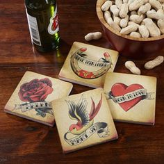 American Tattoo Personalized Tumbled Stone Coaster Set - great Father's Day gift idea!