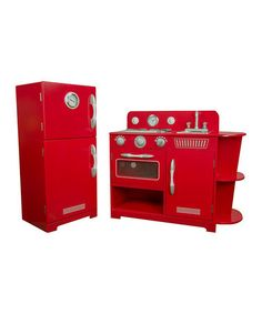 Look at this #zulilyfind! Red Classic Wooden Play Kitchen Set #zulilyfinds