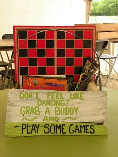 Wedding games. Fill a vintage crate with a variety of board games.