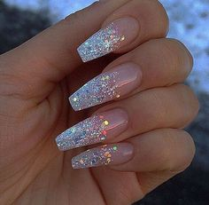 Coffin nails with a glitter french manicure. Beautiful nail design and acrylic nails. Acrylic Nails Coffin Glitter, Glitter Tip Nails, Best Acrylic Nails, Sparkle Nails, Acrylic Nail Art, Acrylic Nail Designs, Coffin Nails, Winter Acrylic Nails, Silver Glitter