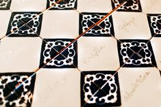 My Spanish Themed Bridal Shower - Spanish Tile placecards / seating chart