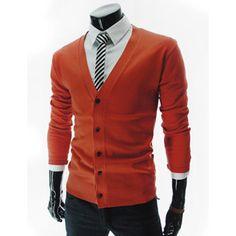 Slim Fit Wool Knit Basic Cardigan, Orange