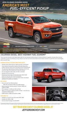 2016 Chevrolet Colorado Duramax Diesel: America's Most Fuel-Efficient Pickup | Get yours at JeffGordonChevy.com!