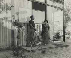 1952 Isamu Noguchi and his wife at the Eames' house |  Photo: Charles & Ray Eames      Source: wright20.com