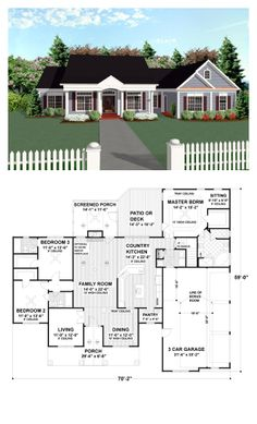 "Colonial Style COOL House Plan ID: chp-17851 | Total Living Area: 2097 sq. ft., 3 bedrooms & 3 bathrooms. Elegant round columns ""dress up"" this three bedroom, three bath, southern country porch design. It's classic irresistible styling makes it perfect for almost any neighborhood. The large vaulted family room, enormous country kitchen and its 452 square foot bonus area make this home feel so much more spacious than one might expect of a 2097 square foot design. #colonialstyle #houseplan"