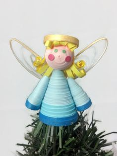 Paper Quilled Angel Tree Topper Ornament - Christmas decoration, unique tree topper, angel ornament, paper quilling angel, Christmas tree