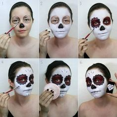 33 Simple Sugar Skull Makeup looks 2018 DIY Halloween Makeup Ideas - Visage Halloween, Halloween Makeup Sugar Skull, Maquillaje Halloween, Halloween Skull, Halloween Diy, Halloween Costumes, Skeleton Costumes, Halloween Skeletons, Sugar Skull Costume Diy