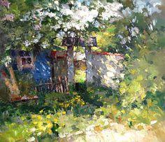 Калитка, Алексей Зайцев- весна, май, сирень у забора, живопись, импрессионизм