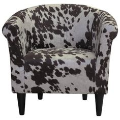 Vintage Decor Living Room Add a touch of farmland style to your living room or den seating group with this eye-catching accent chair, showcasing a barrel design and a cow-inspired motif. My Living Room, Living Room Chairs, Living Room Furniture, Desk Chairs, Studio Living, Bag Chairs, Office Chairs, Living Area, Dining Chairs