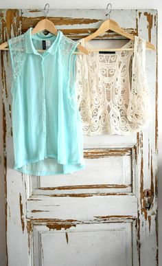 old door with girly clothes