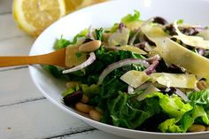Tuscan Salad with green beans, cannellini beans, red onion, olives and parmesan cheese