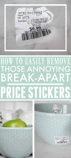 How to Remove Break-Apart Price Stickers Quickly and Easily Speed Cleaning, House Cleaning Tips, Cleaning Hacks, Craft Projects For Kids, Cool Diy Projects, Get Stickers Off, Sticker Removal, Homesense, Price Sticker