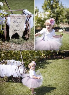 this is what i wasp lanning on doing glad i found a pic of it ! my son will pull angelas baby girl down the isle in a wagon with a sign saying almost married and then after the ceremony the sign will flip over and say just married !