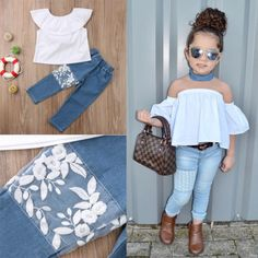 Toddler Kids Baby Girl Off Shoulder Top Denim Pants Jeans Outfits Set Clothes US - April 13 2019 at Baby Outfits, Cute Little Girls Outfits, Dresses Kids Girl, Little Girl Fashion, Toddler Outfits, Kids Outfits, Kids Fashion, Cute Outfits, Fashion Clothes