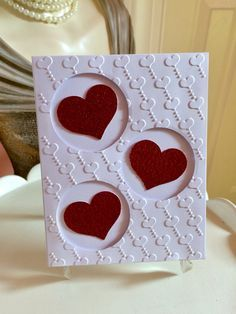 Three hearts from Carolinakathy - cards and paper models at Splitcoastst . - Three hearts from Carolinakathy – cards and paper models at Splitcoaststampers thre - Valentine Love Cards, Valentine Crafts, Valentine Nails, Valentine Ideas, Embossed Cards, Creative Cards, Greeting Cards Handmade, Diy Cards, Scrapbook Cards