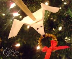 Coffee Filter Dove Craft on Christmas Tree by Celebrating Holidays