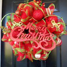 Deco Mesh Christmas Wreath  (I made this)