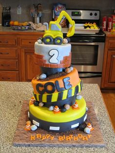 Construction Cake - This was my nephew's birthday cake.  Construction theme.  All pieces are MMF with sytrofoam separators.  Thanks for looking!