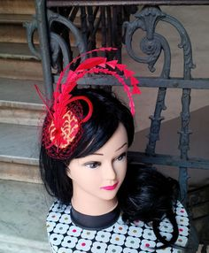 Little Red and Gold Fascinator Hairclip - feathers silk veiling - burlesque hat - moulin rouge - bridal shower - cocktail hat - JCN by JCNfascinators on Etsy