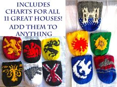 Game of Thrones House Sigil Small Charts for Knitting or Cross Stitch by TheGingersBrews on Etsy