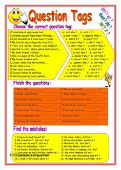 Question Tag Activity For kids.There are 3 activities of this worksheet: the correct question tag. Finish the questions. English Class, English Lessons, Learn English, English File, English Vocabulary, English Grammar, Teaching English, Grammar Exercises, English Exercises