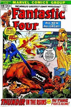 "Fantastic Four #118. FF vs Crystal in, ""Thunder in the Ruins.""  Cover by John Romita Sr.  #Fantastic Four #JohnRomitaSr"